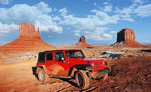 Monument Valley and a Jeep